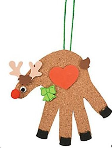 Fun Express Christmas Cork Handprint Reindeer Craft Kits - Makes 12 Ornaments