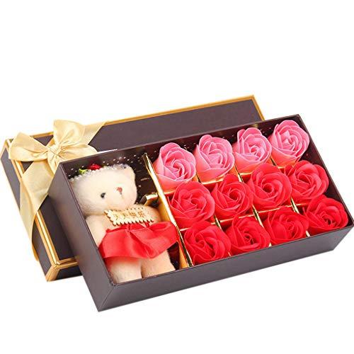 12PCS Romantic Rose Soap Flower gift box with Plush Animal toys Bear ()
