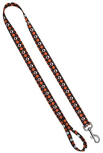Moose Pet Wear Leash 3/4 inch by 6 feet, Oregon State - Orange Black Argyle