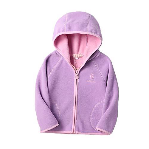 Kids Polar Fleece Jacket Hooded Long Sleeve Coat Zip up Outerwear (Purple, ()