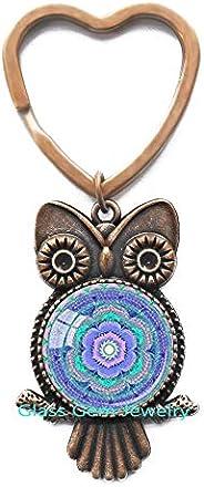 glass gem jewelry Chakra Key Ring Throat Chakra Owl Keychain Aqua Blue Chakra Spiritual Key Ring Yoga Owl Keyc