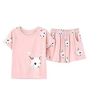 LAI MENG FIVE CATS Cute Pink Bunnies Print Sleepwear Shorts/Long Nighty for Women Pajama Set