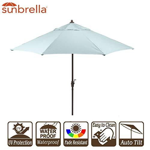 (Sunbrella Fabric Canvas Spa 9' Umbrella Outdoor Patio with Crank and Auto Tilt (9' Crank & Tilt, Sunbrella Spa))