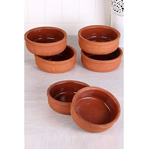 (Hitit Terra Turkish Clay Bowl/Slow Cooking/Earth Pottery Bowls Set of 6)