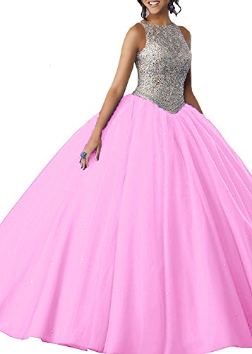 Beauty Bridal Girls' Beaded Prom Party Dresses A Line Quinceanera Ball Gown S071 (8,Peach Pink)
