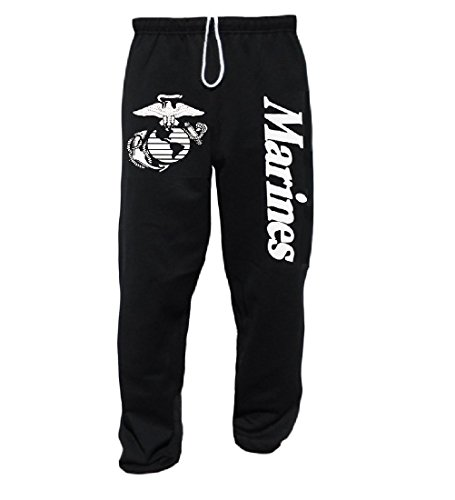USMC Marines Logo Sweatpants United States Marine Pants Black, Medium