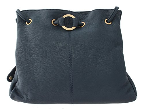 Bolla Bags Wimborne Collection Two Strap Leather Shoulder Bag CANFORD Black/Tan Navy