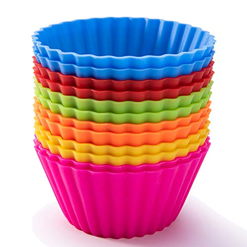 Silicone Baking Cups, SAWNZC Jumbo Cupcake Liners Large 3.54 inch Silicone Cupcake Baking Cups Resusable Muffin Cups Non-stick Muffin Liners Stand Alone Cupcake Holder, 12Packs in 6 Rainbow Colors