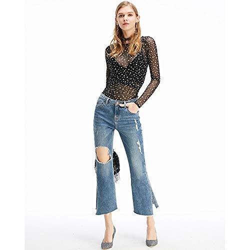 Punkte L unregelm Jeans Neue neun Jeans Femme MVGUIHZPO cher ige Schlitz Taille XL Neue Jeans OqaZZWzxwf