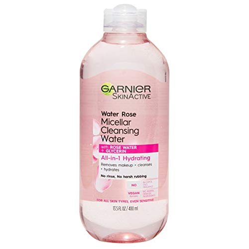 Garnier SkinActive Micellar Cleansing Water with Rose Water and Glycerin, All-in-1 Hydrating, For Normal to Dry Skin, 13.5 Fl Oz
