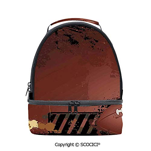 SCOCICI Large Capacity Durable Material Lunch Box Maroon Grunge Rugby Theme with Game Elements Competition Win Sports ArtiImage Multipurpose Adjustable Lunch Bag