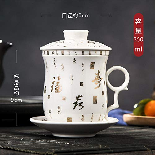 Painted Pattern Chinese Style Tea Cup Ceramic With Lid Filter Tea Cup Tea Set Tea Set - Platinum Fushou