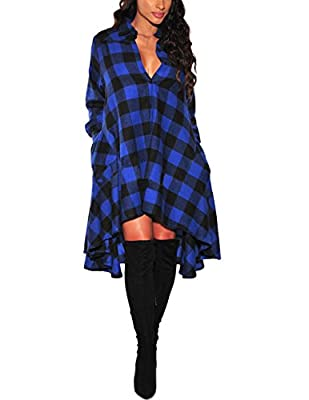 YIHUAN Women's Long Sleeve Polo Neck Plaid High Low Flared Shirt Dress