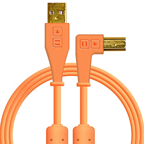 Chroma Cables: Audio Optimized USB-A to USB-B Right-Angle Cable (Neon Orange)