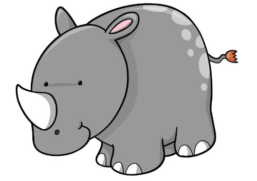 Precious Moments Wall Stickers (Little Gray Spotted Rhino - 7 - 30