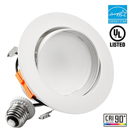 Energy Star Ceiling Light Fixture - TORCHSTAR 4-Inch LED Gimbal Recessed Retrofit Downlight, 10W (65W Equiv.), High CRI90+Dimmable Directional Ceiling Light Fixture, ENERGY STAR, UL-listed, 3000K Warm White, 5 YEARS WARRANTY