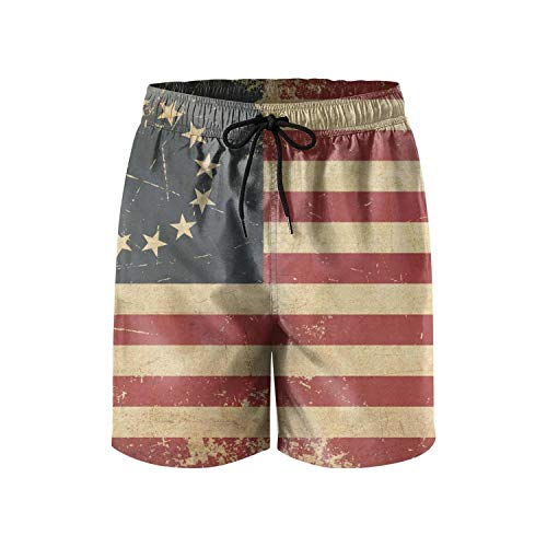 Grunge Aged American Betsy Ross Flag Young Men Sports Shorts Summer Personalized Beach Shorts Swim
