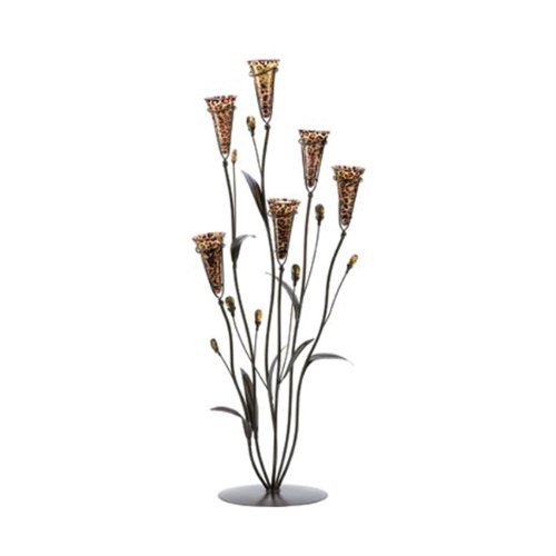 koehler Home Decor Gift Accent Centerpiece Leopard Lily Blossom Tabletop Glass Candle Tree