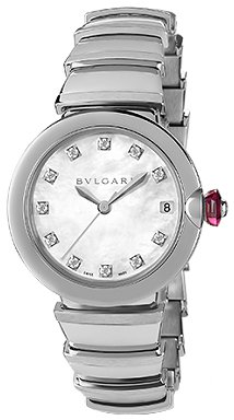 Bvlgari LVCEA Automatic White Mother of Pearl Diamond Dial Stainless Steel Ladies Watch 102199