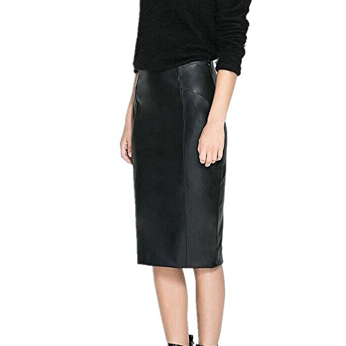 LJYH Women's Desinger Leather Pencil Midi Skirt Black