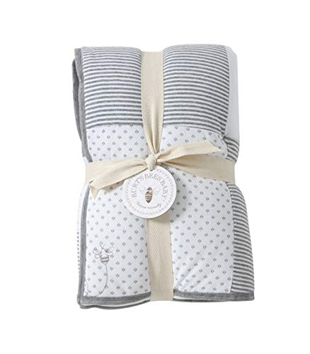 Burt's Bees Baby - Reversible Quilt Baby Blanket, Dottie Bee Print, 100% Organic Cotton and 100% Polyester Fill (Heather Grey) ()