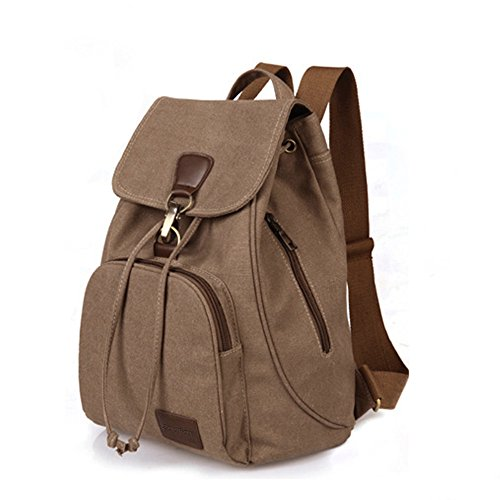 - ZOORON Drawstring Canvas Backpack Vintage Rucksack Daypack (Coffee)