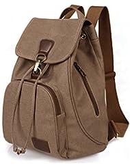 ZOORON Drawstring Canvas Backpack Vintage Rucksack Daypack with Adjustable Straps