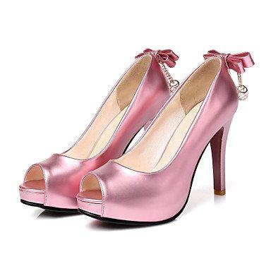 talón comodidad primavera dedo mujer rosa boda verano fiesta boda rosa Bowknot zapatos sintético Peep 4U Best básica de cuero Zapatos para bomba Stiletto KUKIE noche de de w7Tq8WAx