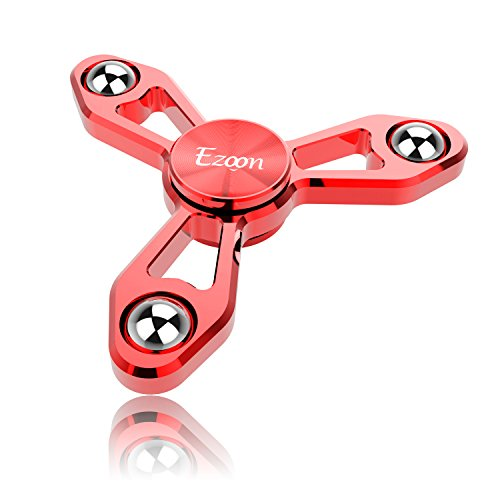 EZOON Tri Fidget Spinner Metal Finger Toys, Aluminum Hand Spinner Replaceable Bearing Max 4 Mins Spinning Time EDC ADHD Focus Toy for Kids Adults