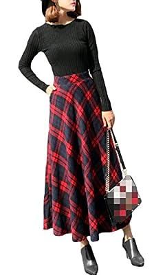 Comaba Womens Wool-Blend Midi Fall Plaid Hi-Waist Mid-Long Winter Retro A-line Long Maxi Skirt
