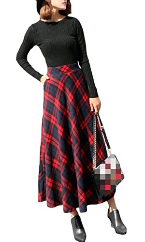 Suit Skirt Wool Red (Comaba Womens Wool-Blend Midi Fall Plaid Hi-Waist Mid-Long Winter Retro A-line Long Maxi Skirt Red XL)