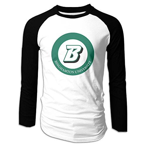 Creamfly Mens Binghamton University Long Sleeve Raglan Baseball Tshirt M