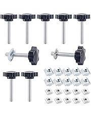 10 STKS M8 X 50 mm Zeshoekige Plastic Hoofd Ster Schroef, Draad Vervanging Ster Hand Knop Aanscherping Schroef, Zwarte Grip, Duimschroef voor Machinery Latch (bevat 10 x 30-M8 en 10 x 40-M8 glijmoeren)