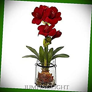 JumpingLight 24'' Amaryllis with Vase Artificial Flowers Wedding Party Centerpieces Arrangements Bouquets Supplies 27