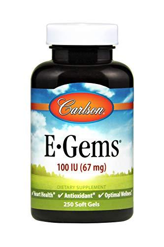 Carlson E-Gems 100 IU, Vitamin E, Heart Health, 250 Soft Gels