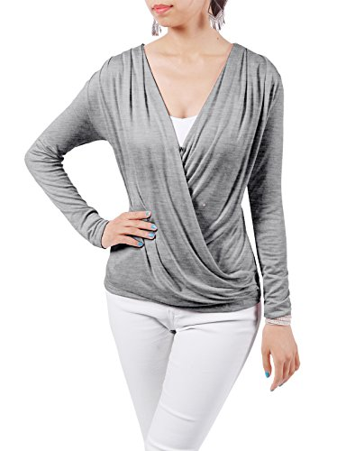 Price comparison product image H2H Womens Lightweight Cross-front V-neck Draped Long Sleeve Blouse Top GRAY US 3XL / Asia 3XL (CWTTL0184)