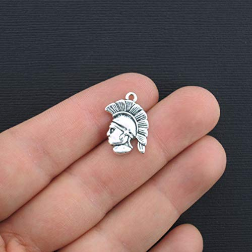 - Bulk 20 Spartan Head Charms Antique Silver Tone 2 Sided - SC2900
