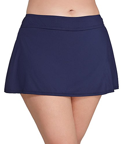 Anne Cole Signature Plus Size Solid Skirted Bikini Bottom, 18W, Navy by Anne Cole