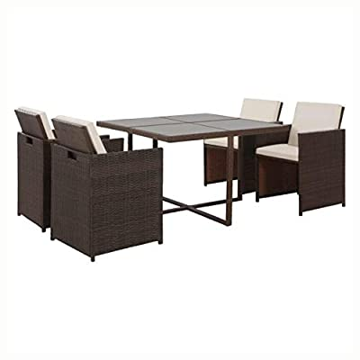 HEATAPPLY Outdoor Furniture Set, 5 Piece Outdoor Dining Set with Cushions Poly Rattan Brown