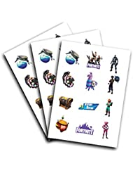3 Sheets of Battle Royale Characters Kids Temporary Tattoos | Birthday Party Supplies Favors | Easy to Use | Safe | Durable | Tattoos for Children | Multiple Designs | Non-toxic (Version 1)