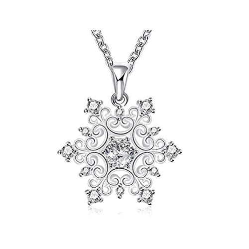 AFAF Silver Plated Necklace, Cubic Zirconia Snowflake Pendant Necklace for Women Girls Jewelry Fashion Necklaces