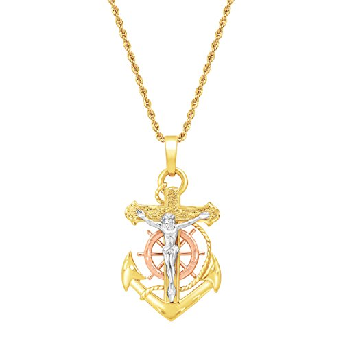 Eternity Gold Mariner's Cross Pendant in 14K Three-Tone Gold ()