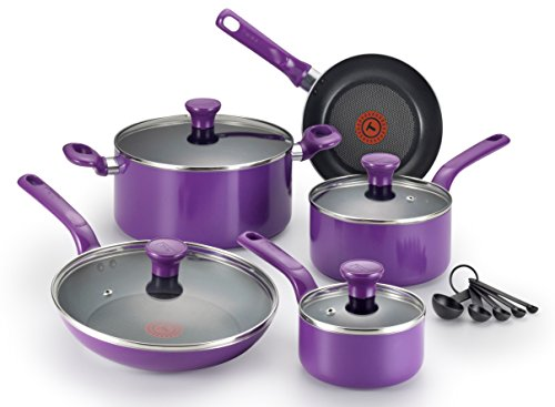 T-fal C511SE Excite Nonstick Thermo-Spot Dishwasher Safe Oven Safe PFOA Free Cookware Set, 14-Piece, Purple (Cookware Pots And Pans compare prices)