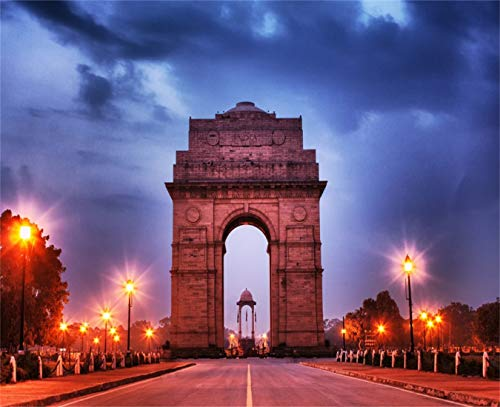 Leowefowa Vinyl 9X7 FT India Gate Backdrop Road Lamps Rock Stone Highway Blue Sky Night View Romantic Photography Background Lover Adults Photo Studio Props