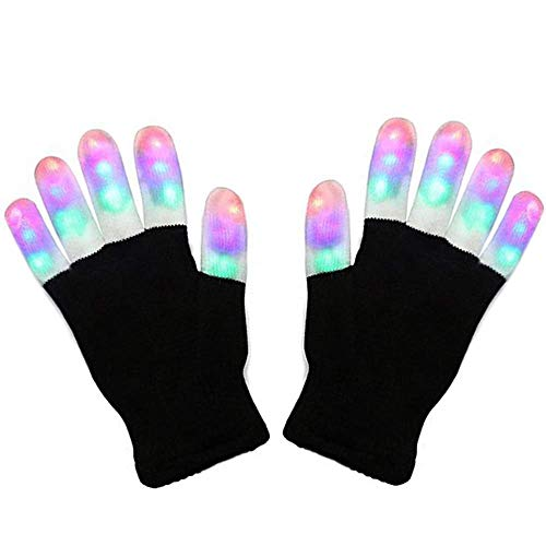 LED Gloves, LSXD Colorful Flashing Finger Light Adults'Gloves, 3colors 6modes warm gloves for Halloween, Chirstmas Birthday party