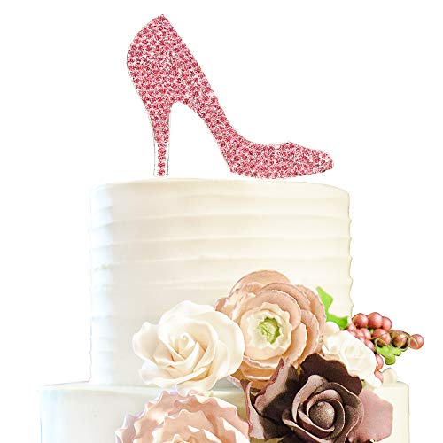 hoes Pink Rhinestone Cake Topper Birthday Hen Night Wedding Party Gift Sparkly Decoration ()
