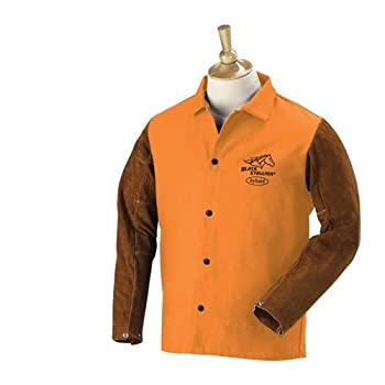 "Revco Hybrid FO9-30C/BS 30"" 9oz.Orange FR Cotton/Cowhide Jacket, Mediu"