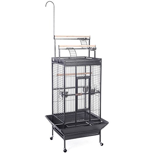 Giantex Bird Cage w/ Ladder Play Top Strong Iron Parrot Cockatoo Parakeet Finch Macaw Cockatoo Cages Pet Supply