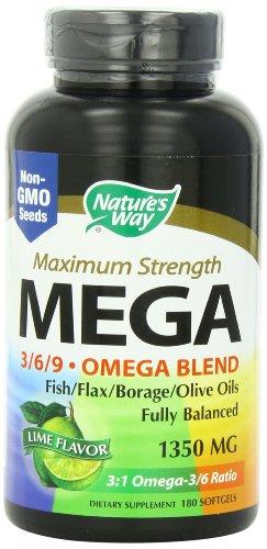 Manera de la naturaleza mezcla Mega 3/6/9, sabor limón, 180 cápsulas
