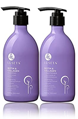 Luseta Biotin & Collagen Shampoo & Conditioner Set - Thickening for Hair Loss & Fast Hair Growth - Infused with Argan Oil to Repair Damaged Dry Hair - Sulfate Free Paraben Free